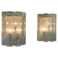 Pair of Large Murano Glass Wall Sconces by Doria, Germany, circa 1960s