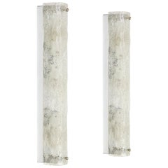 Pair of Large Murano Ice Glass Sconces Modernist Wall Fixtures, Germany, 1960s