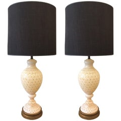 Pair of Large Murano Lamps by Seguso