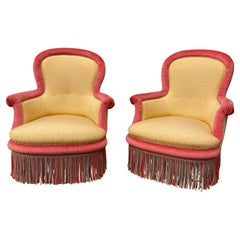 Pair of Large Napoleon III Armchairs in Gold and Red