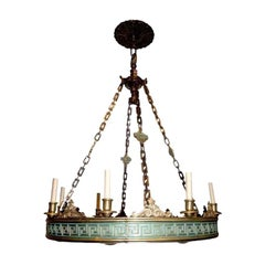 Pair of Large Neoclassic Bronze Chandeliers, Sold Individually