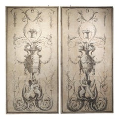 Pair of Large Neoclassical Grisaille Paintings from Siena, Italy, circa 1810