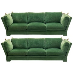 Pair of Large Neoclassical Maison Jansen Sofas Original Green Velvet, 1970s