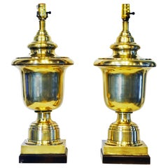 Pair of Large Neoclassical Solid Brass Urn Table Lamps by Frederick Cooper Co