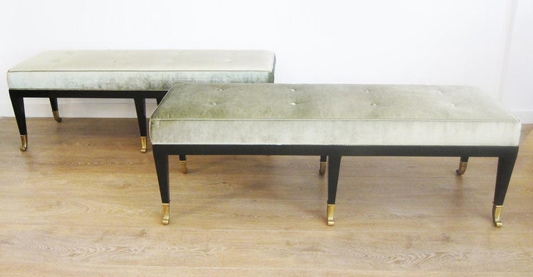 Pair of Large Neoclassical Style Upholstered Benches For Sale 3