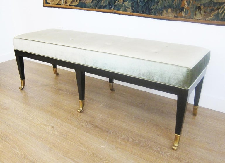 American Pair of Large Neoclassical Style Upholstered Benches For Sale