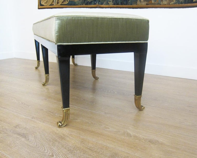 Lacquered Pair of Large Neoclassical Style Upholstered Benches For Sale