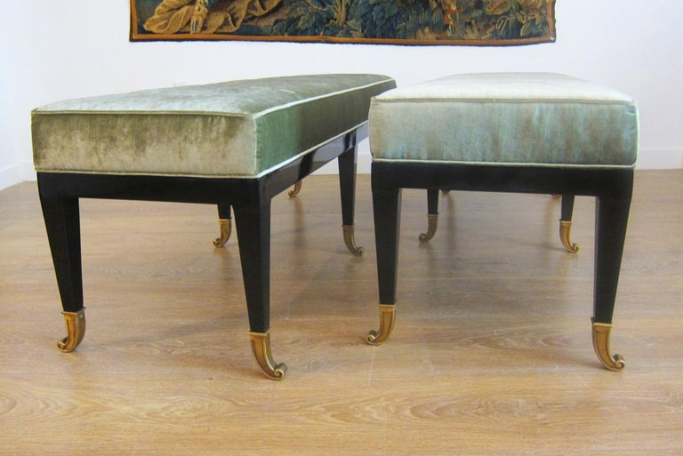 Mid-20th Century Pair of Large Neoclassical Style Upholstered Benches For Sale