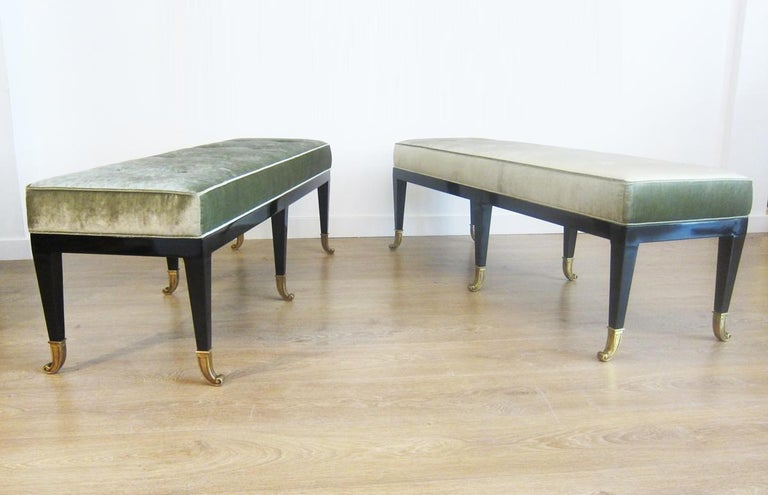 Wood Pair of Large Neoclassical Style Upholstered Benches For Sale