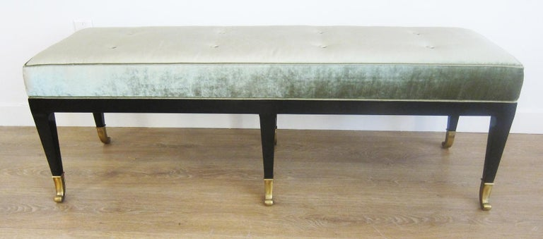 Pair of Large Neoclassical Style Upholstered Benches For Sale 2