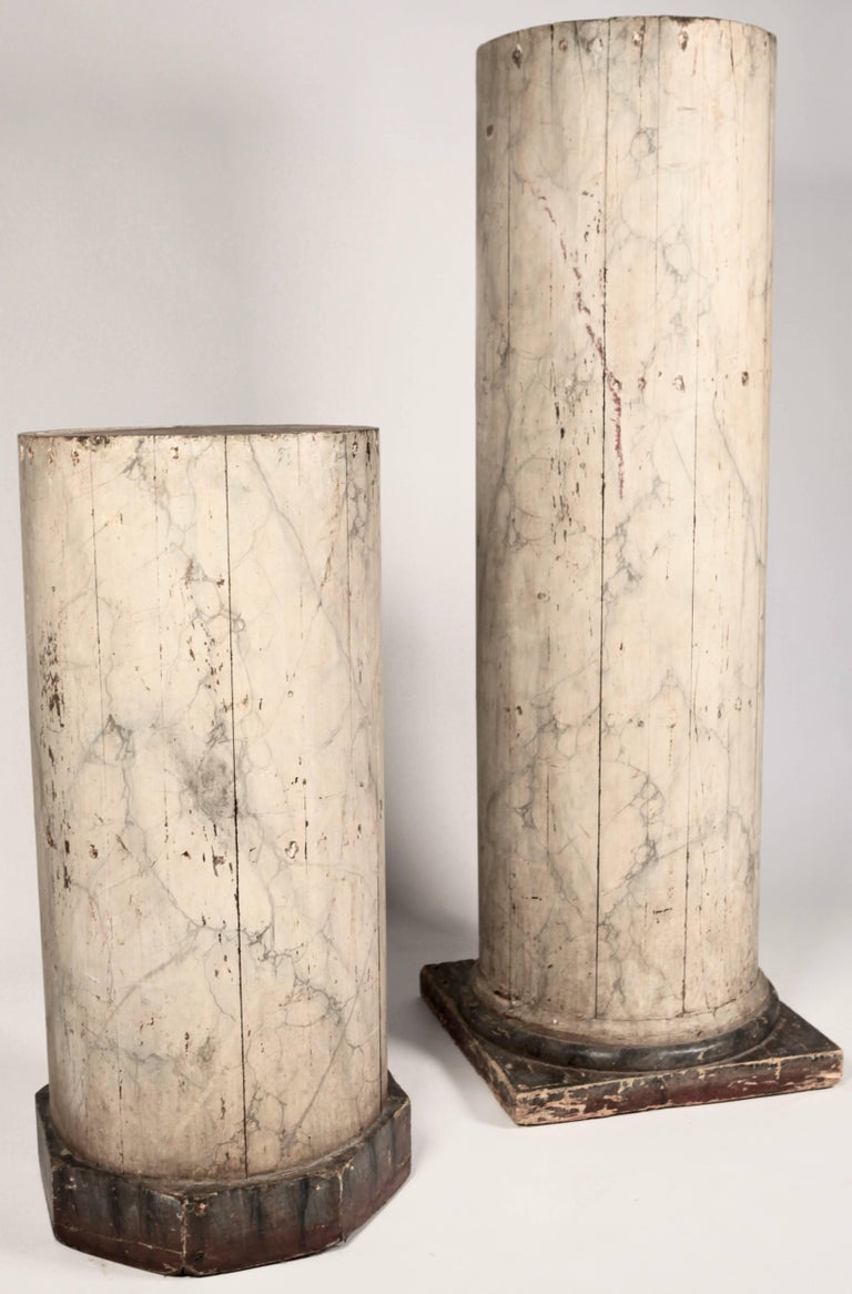 Classical Roman Pair of Large North Italian Marbled Wood Columns 19th Century For Sale