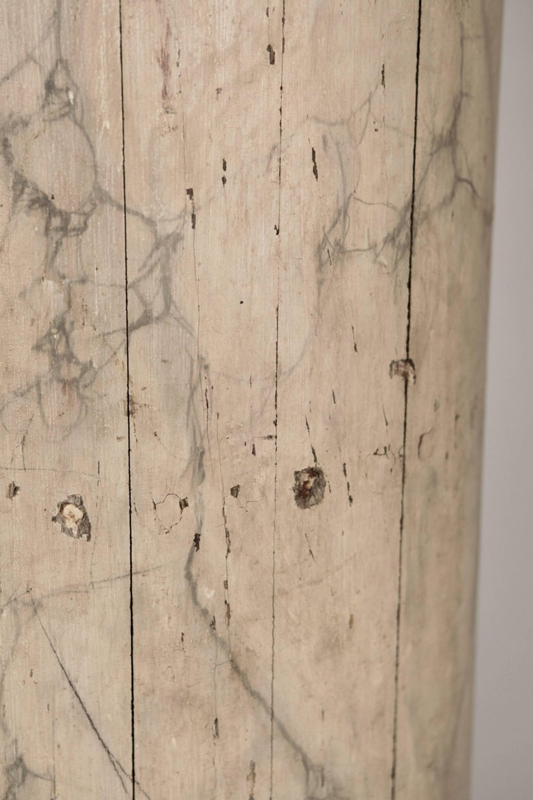 Pair of Large North Italian Marbled Wood Columns 19th Century For Sale 1
