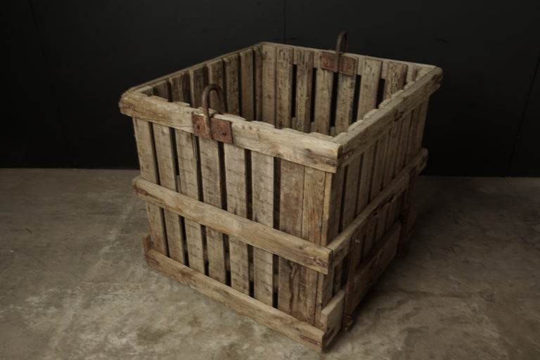 Large Pair of Oak Crates from France, circa 1940 In Good Condition For Sale In Nashville, TN