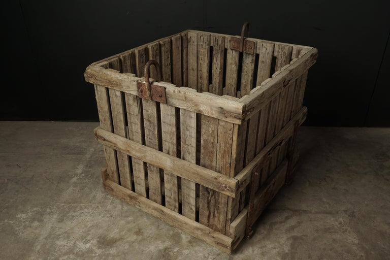 Mid-20th Century Large Pair of Oak Crates from France, circa 1940 For Sale