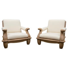 Pair of Large Oak Lounge Chairs, France, circa 1950