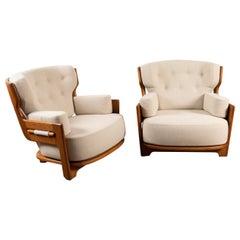 """Pair of Large Oak Lounge Chairs, Guillerme et Chambron for """"Votre maison"""""""