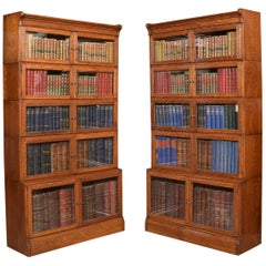 Pair of Large Oak Sectional Bookcases