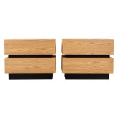 Pair of Large Oak Stacked Box Nightstands by Lawson-Fenning