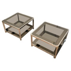 Pair of Large Octogonal Chromed Side Tables with Bronze Glass Tops, French