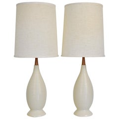Pair of Large Off-White Beehive Lamps