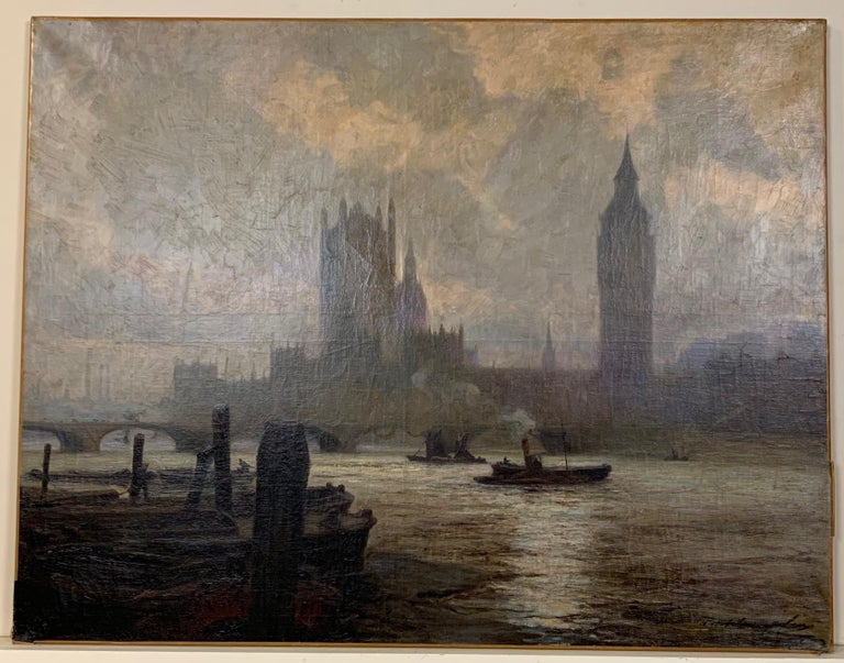 Early 20th Century Pair of Large Oil on Canvas Paintings of London For Sale