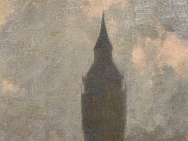 Pair of Large Oil on Canvas Paintings of London For Sale 1