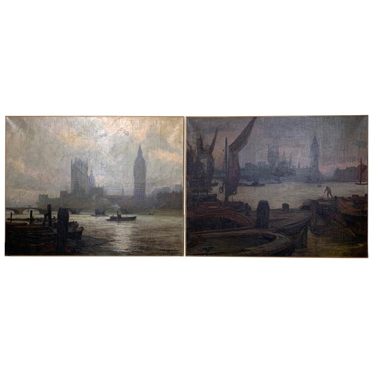 Pair Of Large Oil On Canvas Paintings Of London For Sale At 1stdibs