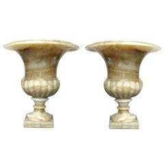 Pair of Large Onyx Neo Classic Urns