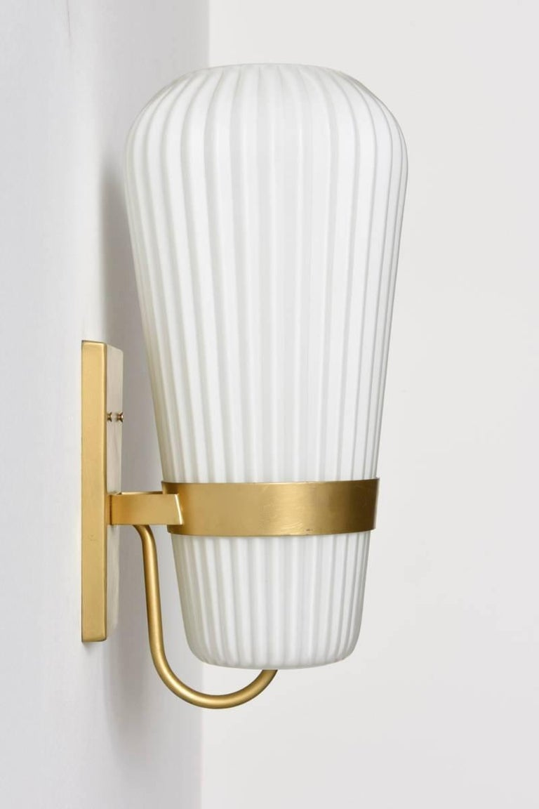Mid-Century Modern Pair of Large Opal Ribbed Glass Wall Lights/Sconces Designed by Philips, 1950s For Sale