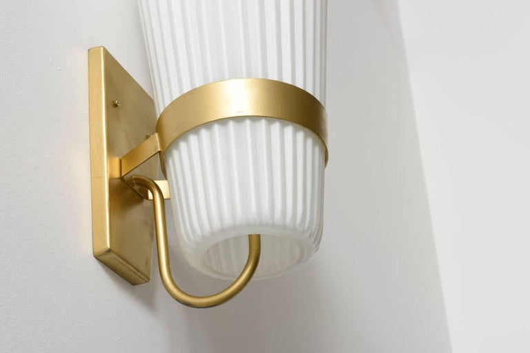 Dutch Pair of Large Opal Ribbed Glass Wall Lights/Sconces Designed by Philips, 1950s For Sale