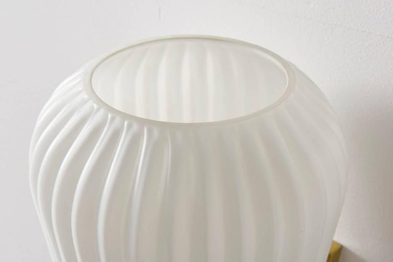 Gilt Pair of Large Opal Ribbed Glass Wall Lights/Sconces Designed by Philips, 1950s For Sale