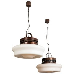 Pair of Large Opaline and Copper Ceiling Fixtures