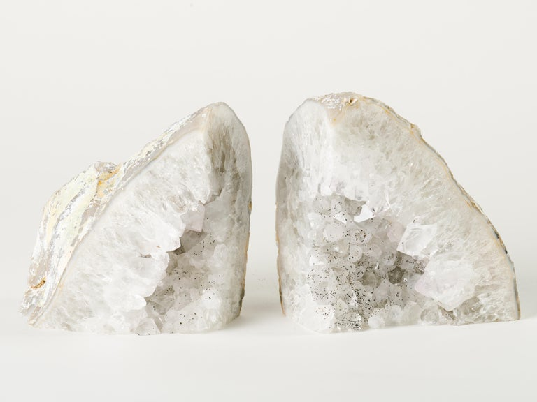 Brazilian Pair of Large Organic Quartz Crystal Geode Bookends For Sale