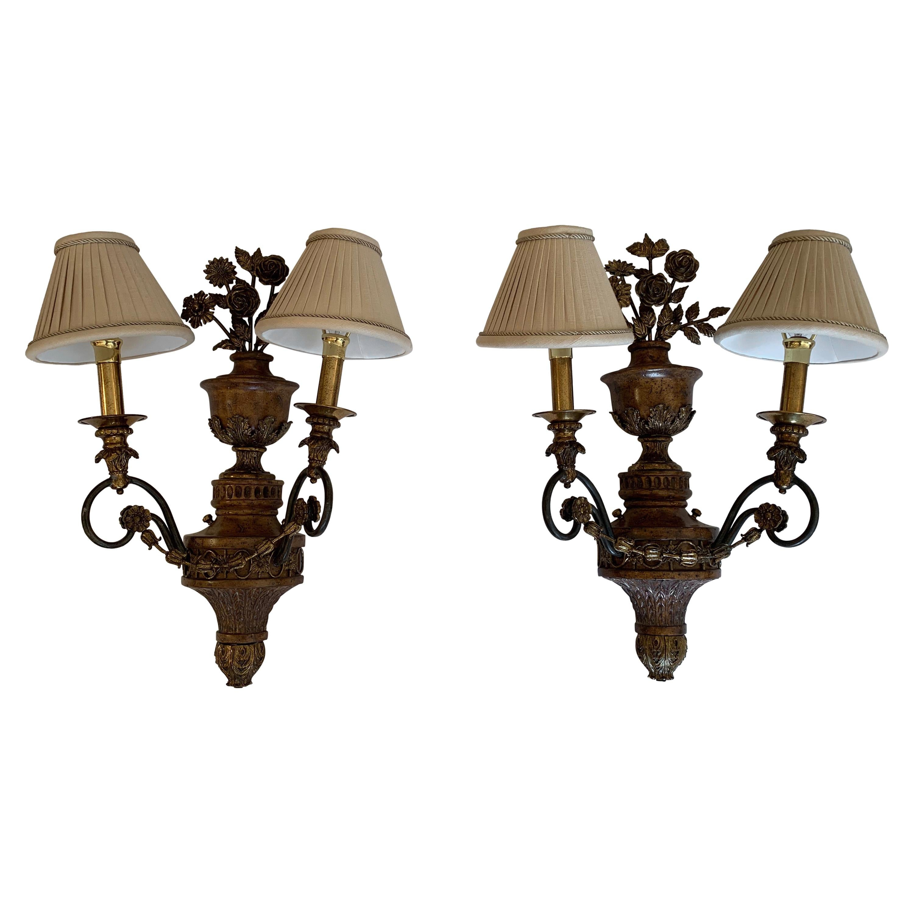 Pair of Large Maitland Smith Ornate Floral Motife Brass Sconces