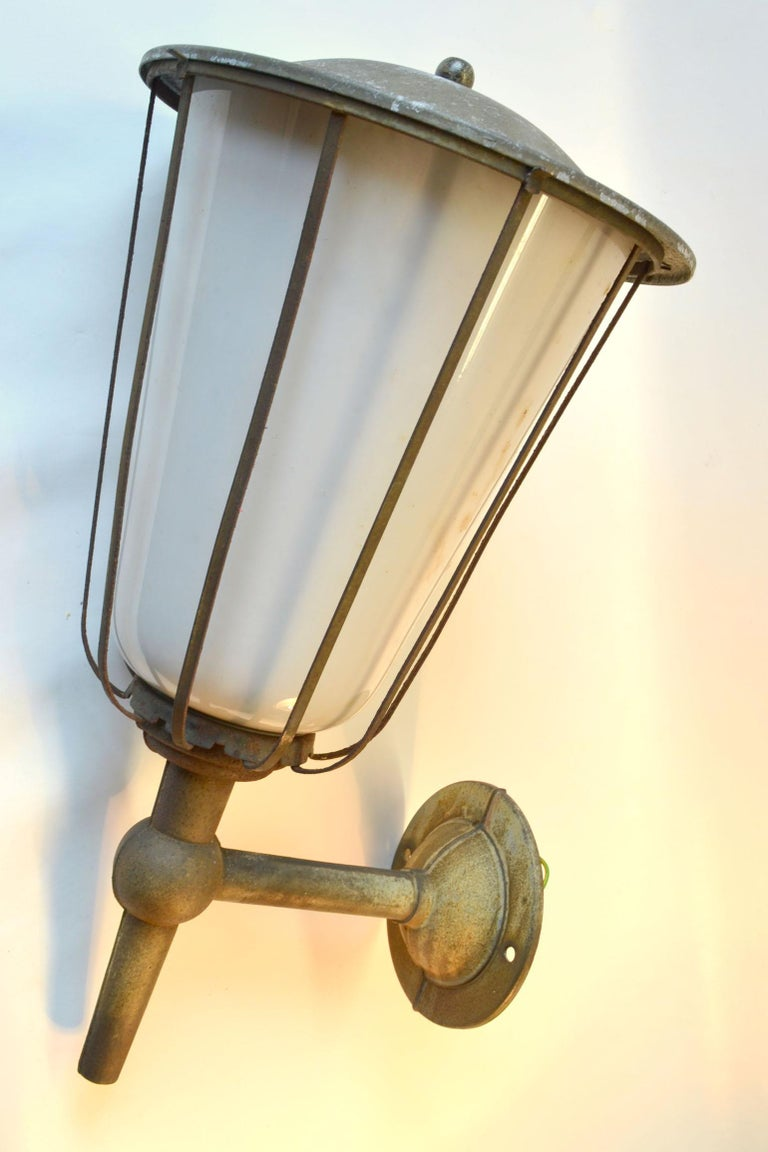 Pair of Large Outdoor Lanterns, Metal & White Glass, Early 20th Century, France In Good Condition For Sale In London, GB