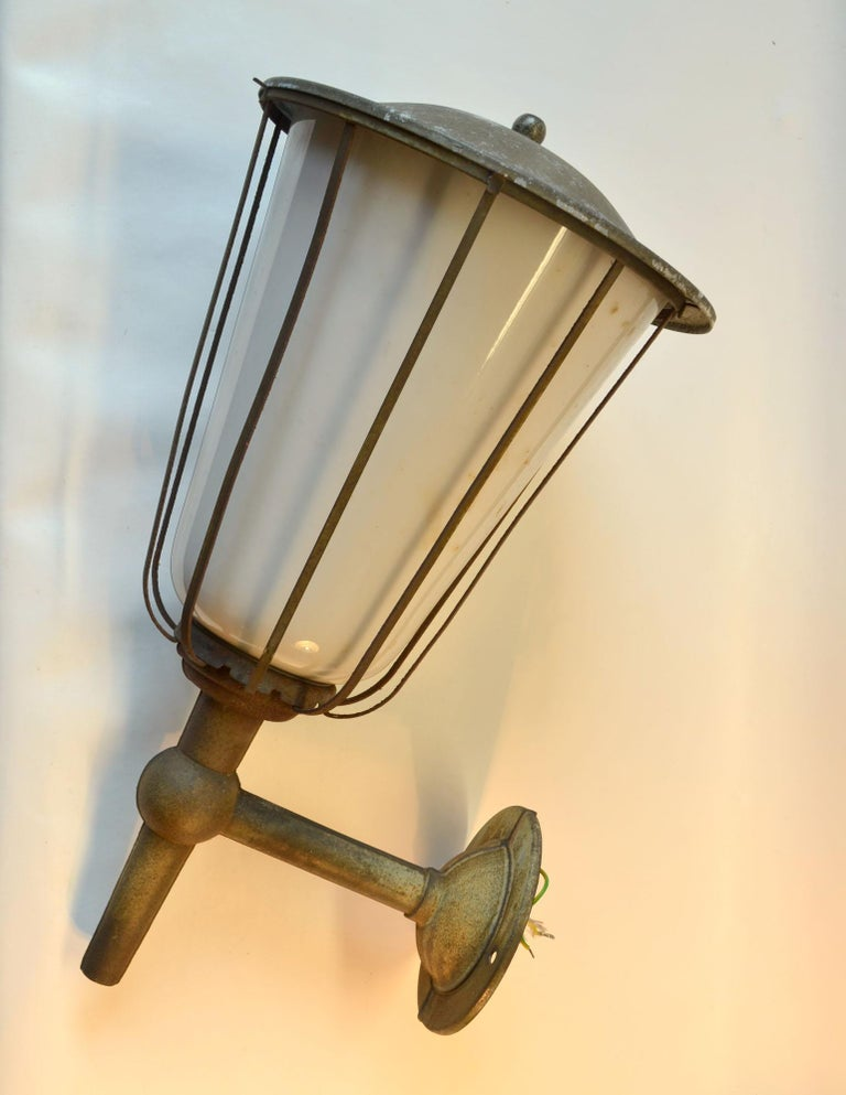 Opaline Glass Pair of Large Outdoor Lanterns, Metal & White Glass, Early 20th Century, France For Sale