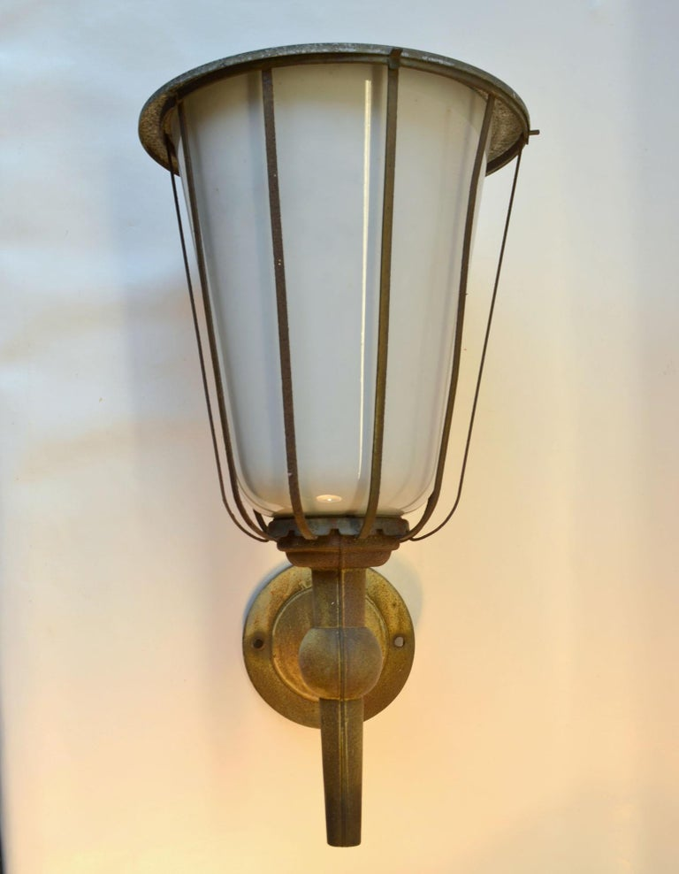 Pair of Large Outdoor Lanterns, Metal & White Glass, Early 20th Century, France For Sale 1