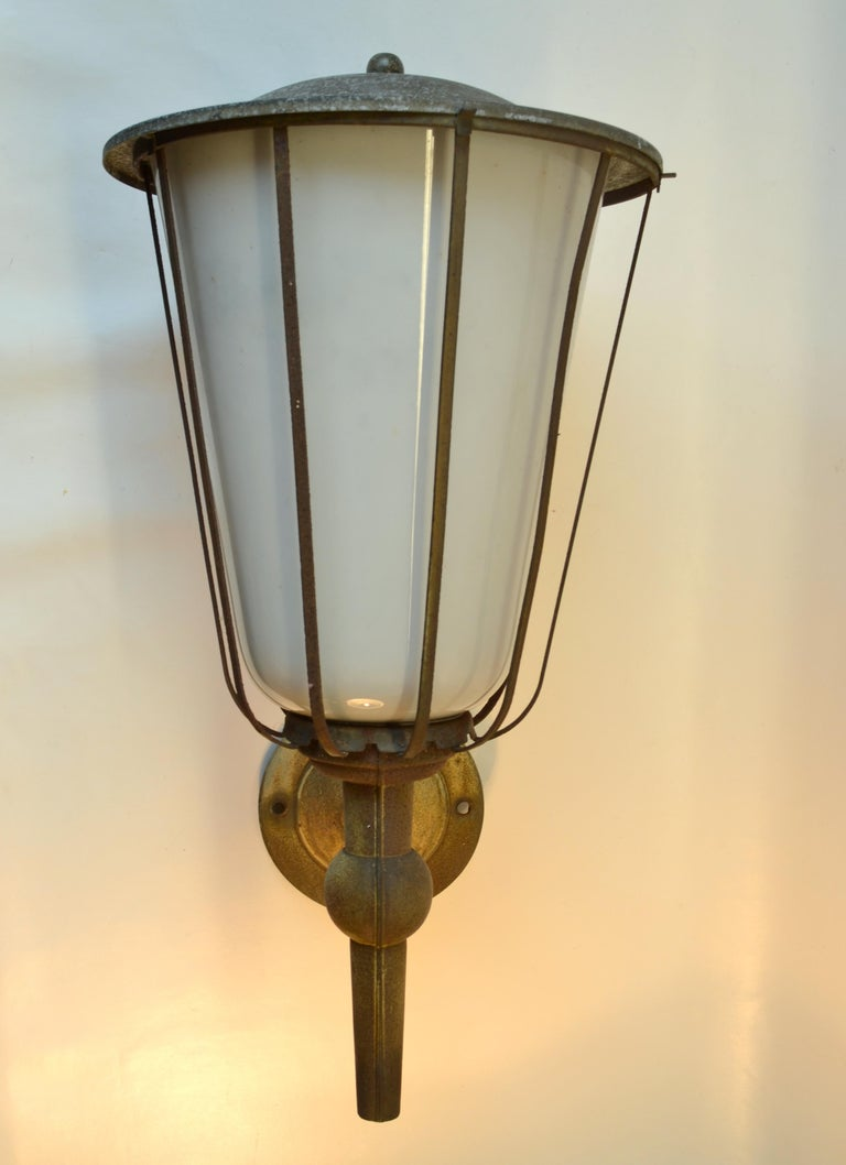 Pair of Large Outdoor Lanterns, Metal & White Glass, Early 20th Century, France For Sale 2