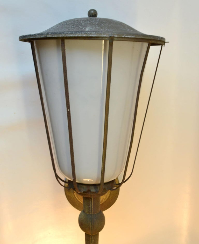 Pair of Large Outdoor Lanterns, Metal & White Glass, Early 20th Century, France For Sale 3