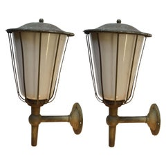 Pair of Large Outdoor Lanterns, Metal & White Glass, Early 20th Century, France