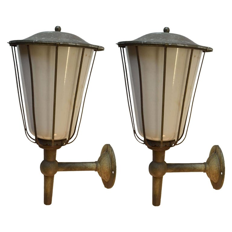 Pair of Large Outdoor Lanterns, Metal & White Glass, Early 20th Century, France For Sale