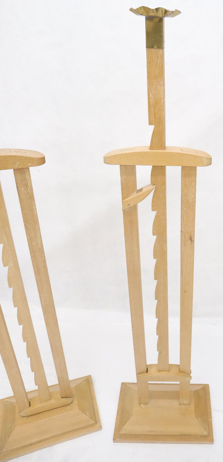 Carved Pair of Large Oversize Adjustable Candle Holders Sticks  For Sale