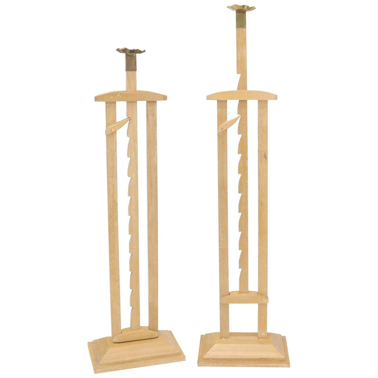 Pair of Large Oversize Adjustable Candle Holders Sticks  For Sale