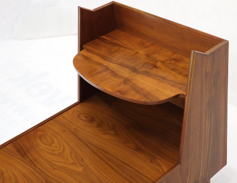 Pair of Large Oversize Two-Drawer Walnut Step End Side Tables by Drexel For Sale 4