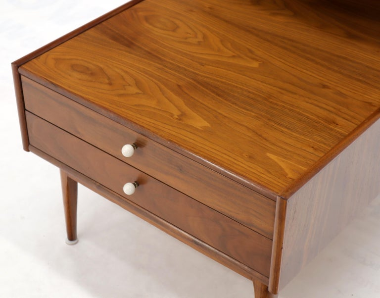 Pair of Large Oversize Two-Drawer Walnut Step End Side Tables by Drexel For Sale 5