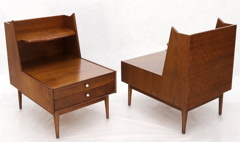 Mid-Century Modern Pair of Large Oversize Two-Drawer Walnut Step End Side Tables by Drexel For Sale