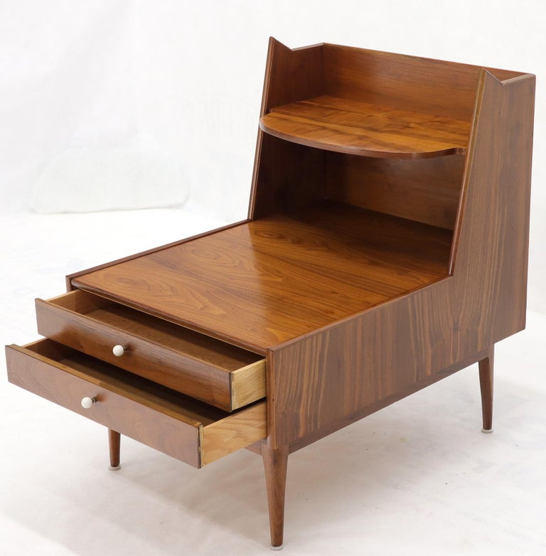 American Pair of Large Oversize Two-Drawer Walnut Step End Side Tables by Drexel For Sale