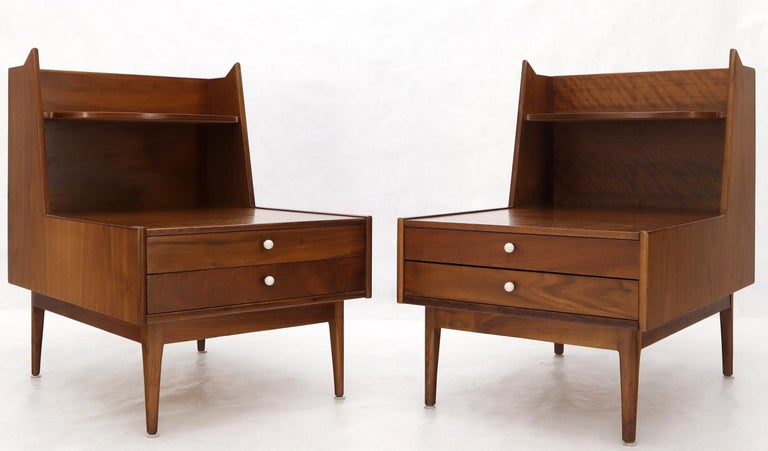 Oiled Pair of Large Oversize Two-Drawer Walnut Step End Side Tables by Drexel For Sale