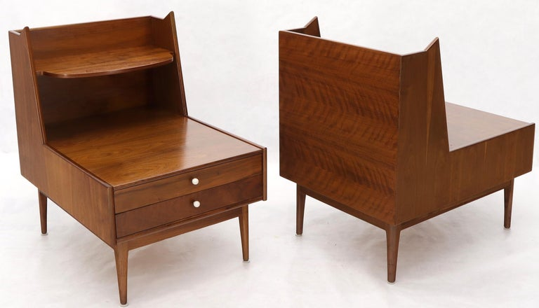 20th Century Pair of Large Oversize Two-Drawer Walnut Step End Side Tables by Drexel For Sale