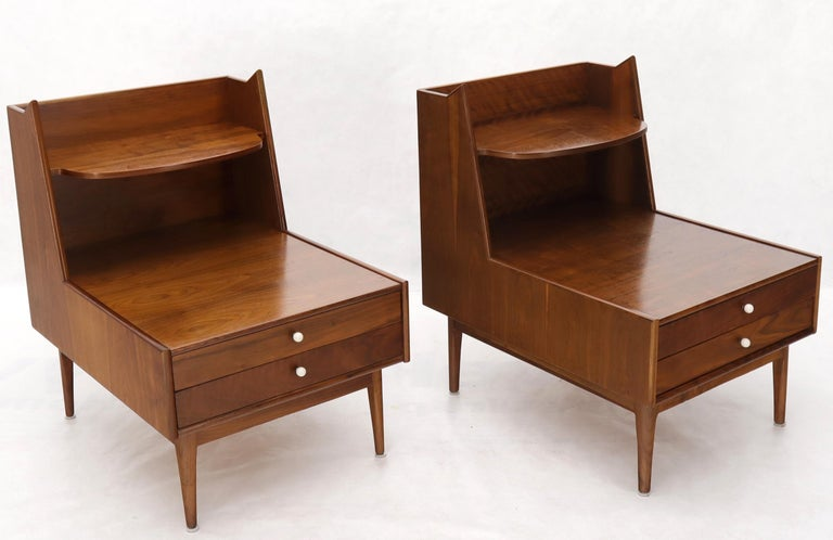 Pair of Large Oversize Two-Drawer Walnut Step End Side Tables by Drexel For Sale 1